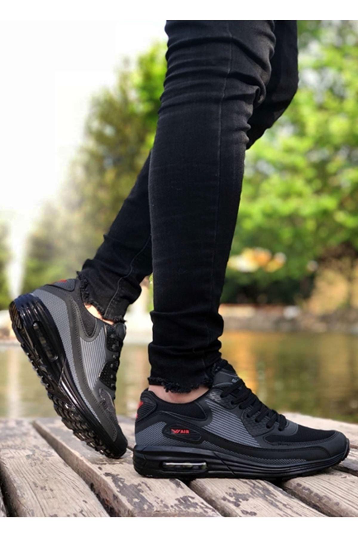 Boy Uzatan AirMax Siyah Erkek Spor Ayakkabı