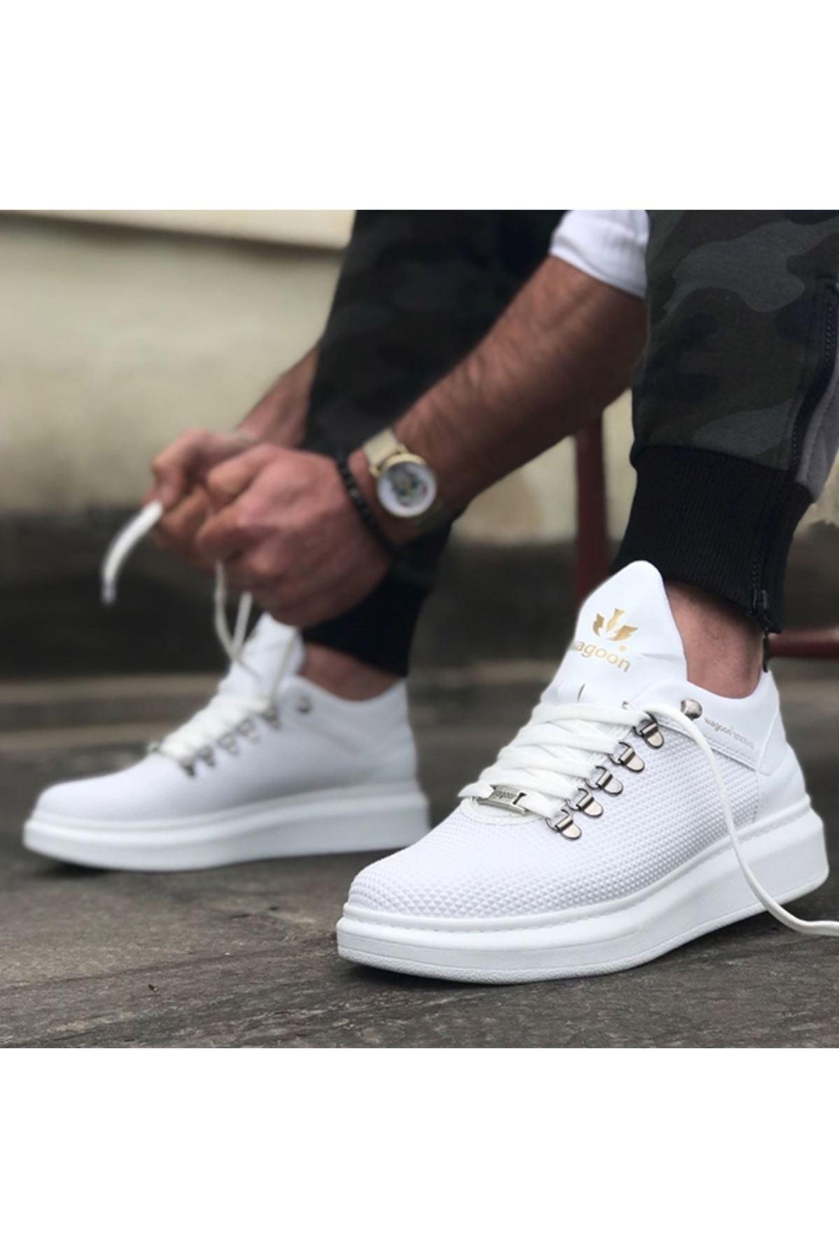 Boy Uzatan Piramit Doku Beyaz Erkek Spor Ayakkabı