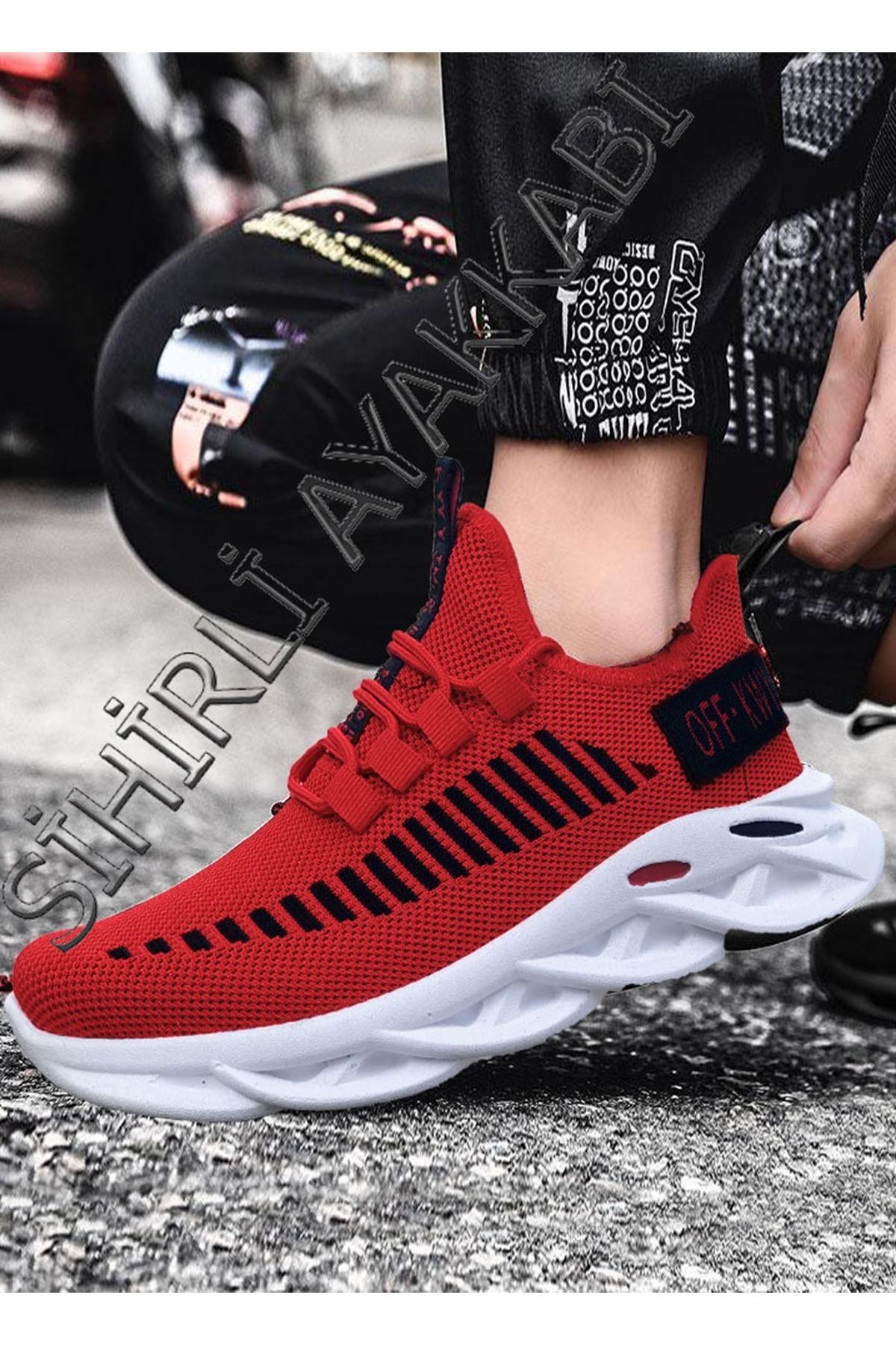 Boy Uzatan Kırmızı Örme Triko Tekno Erkek Spor Ayakkabı