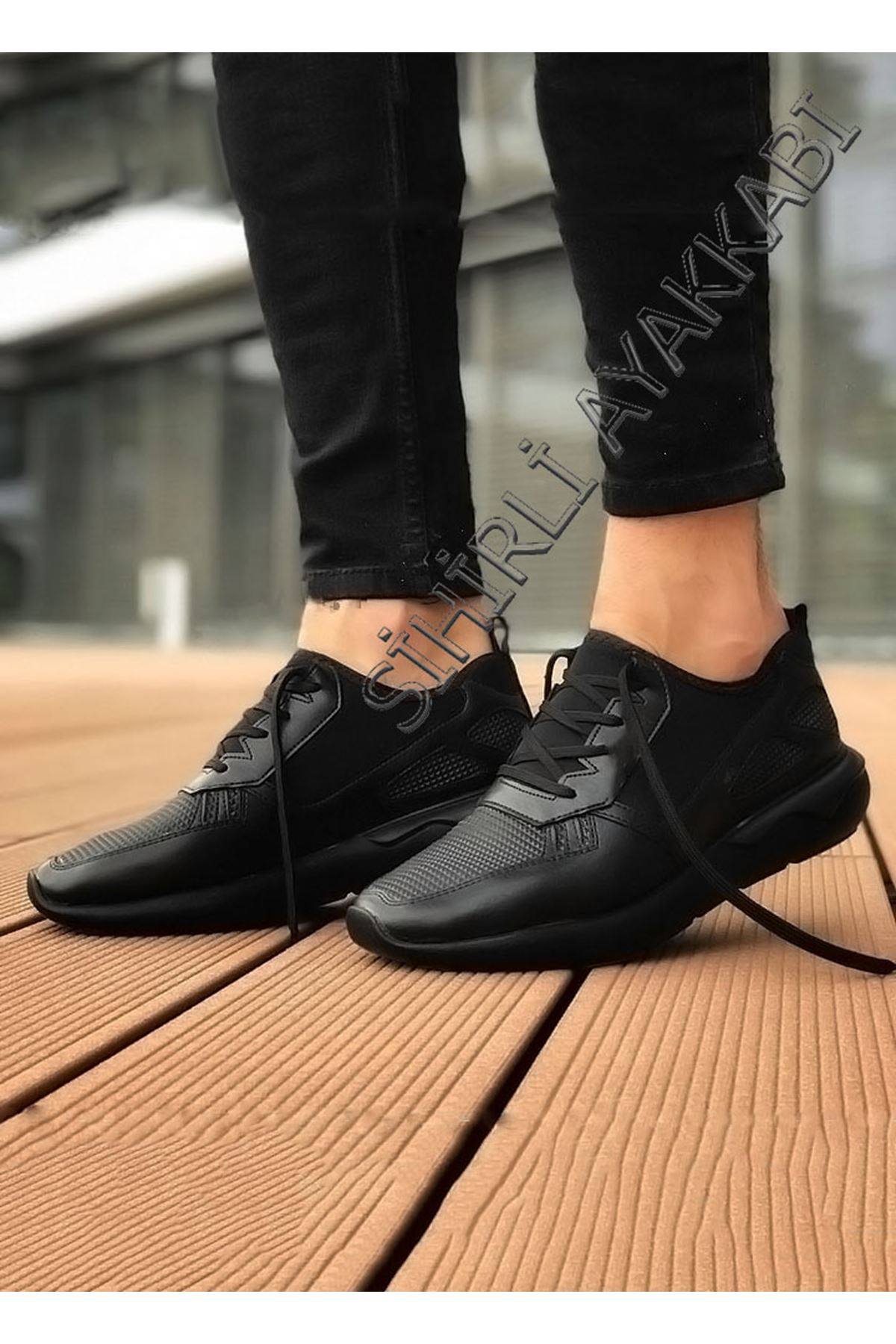 Boy Uzatan Hakiki Deri Spor Model Erkek Siyah Ayakkabı