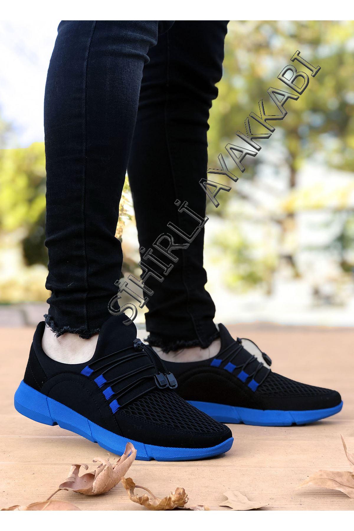 Boy Uzatan Siyah Mavi Triko Hafif Erkek Spor Ayakkabı