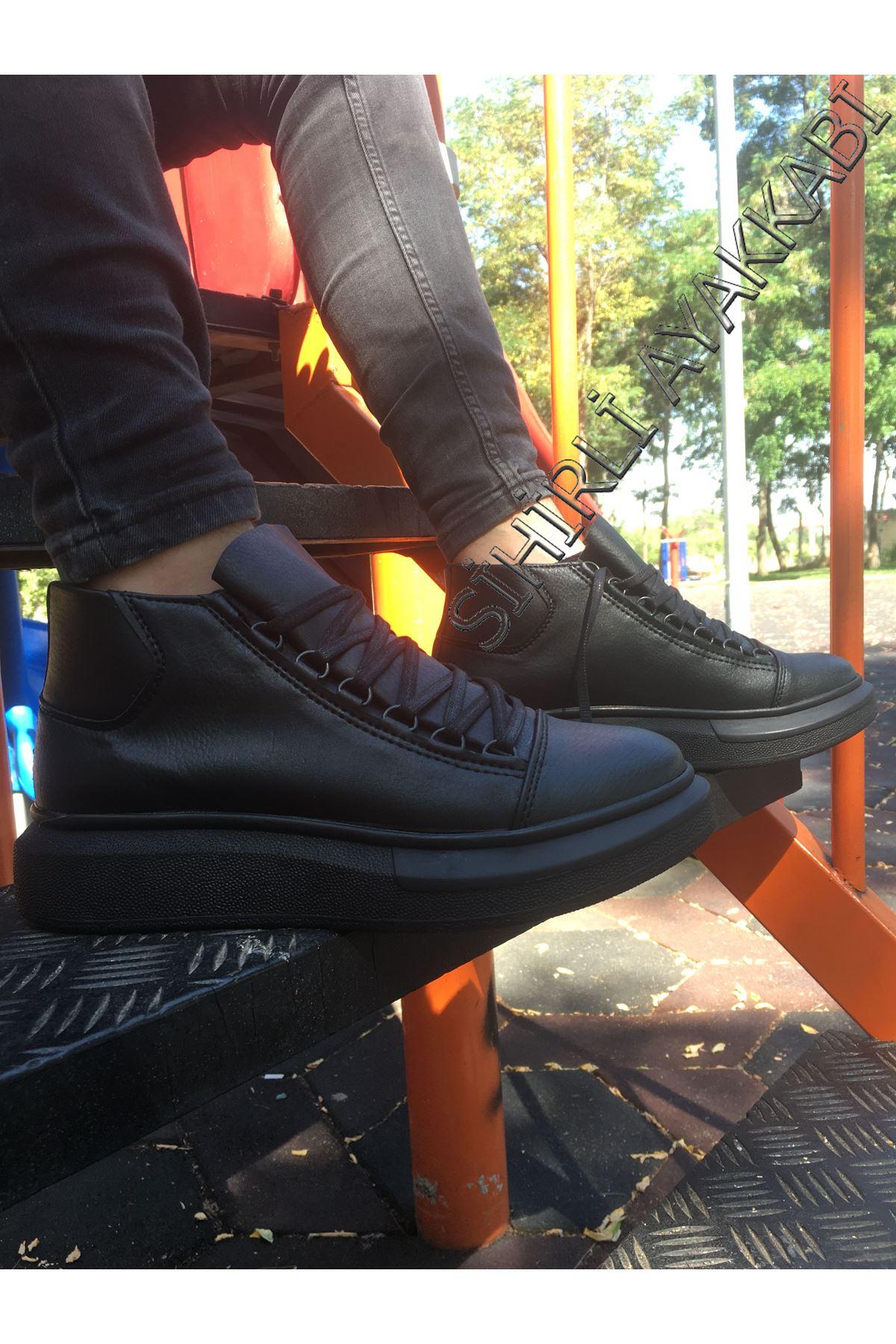 Boy Uzatan Gizli Topuk Bot Model Yüksek Taban Siyah Erkek Ayakkabı