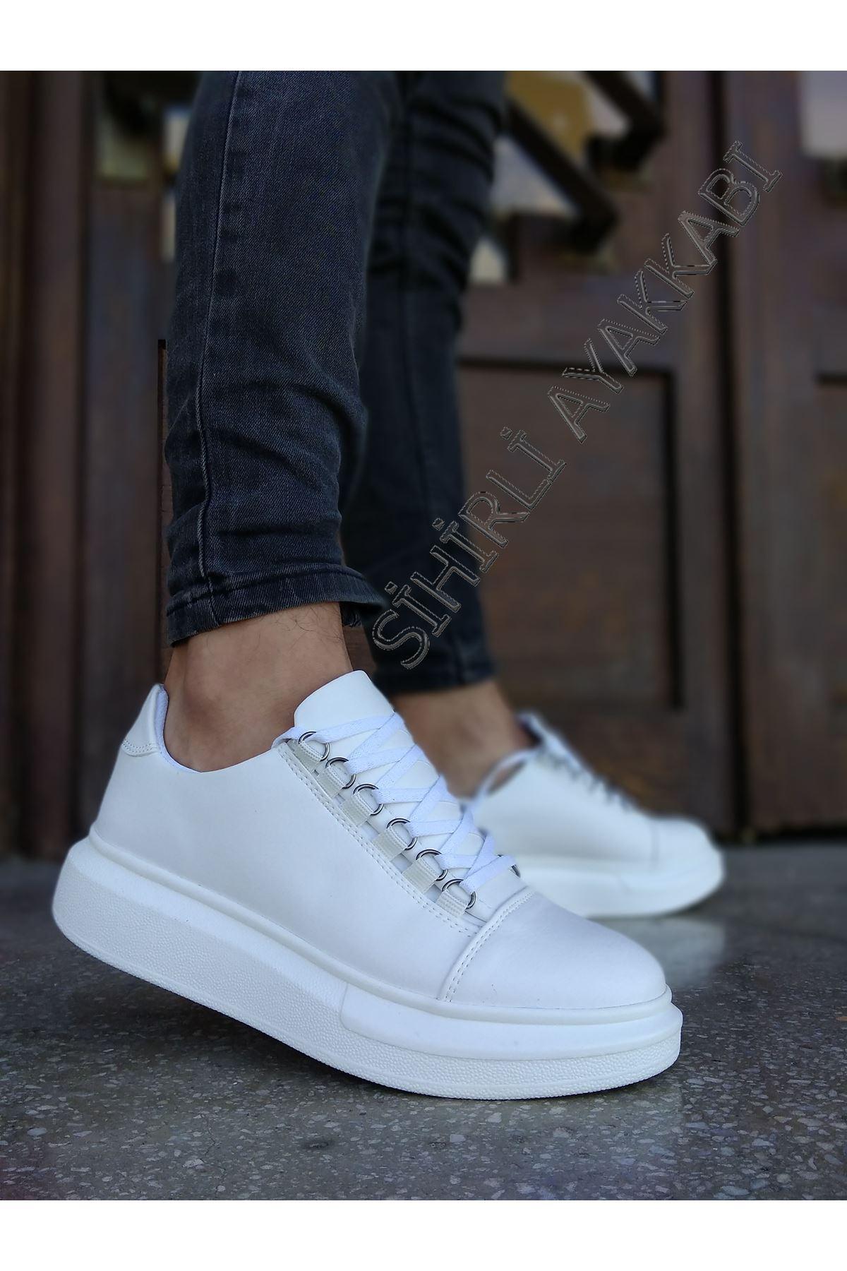 Boy Uzatan Beyaz Kancalı Yüksek Taban Erkek Spor Ayakkabı