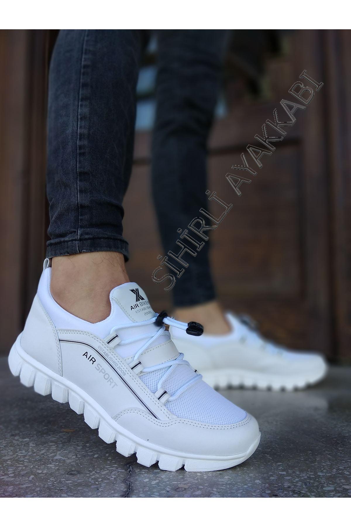 Boy Uzatan Gizli Topuk Beyaz Triko Hafif Erkek Spor Ayakkabı