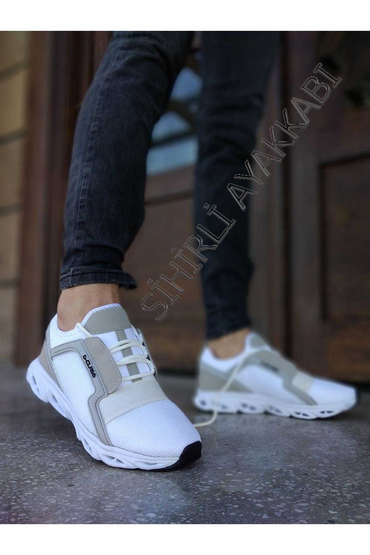 Boy Uzatan Gizli Topuk Fileli Beyaz Erkek Spor Ayakkabı