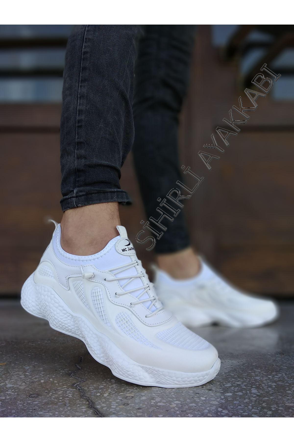 Boy Uzatan Gizli Topuk Beyaz Grid Desen Fileli Erkek Spor Ayakkabı