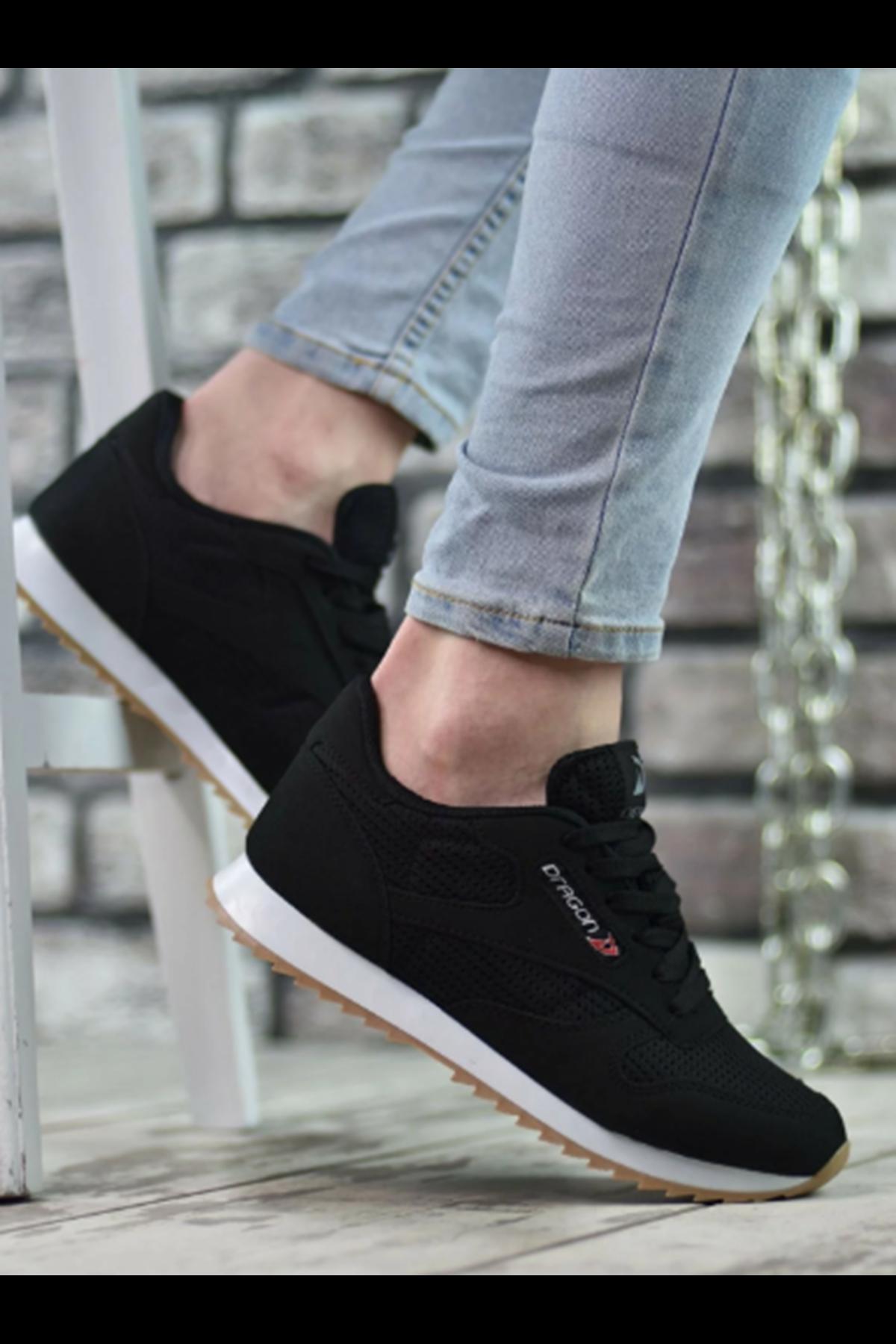 Boy Uzatan Gizli Topuk Siyah Yazlık Erkek Spor Ayakkabı