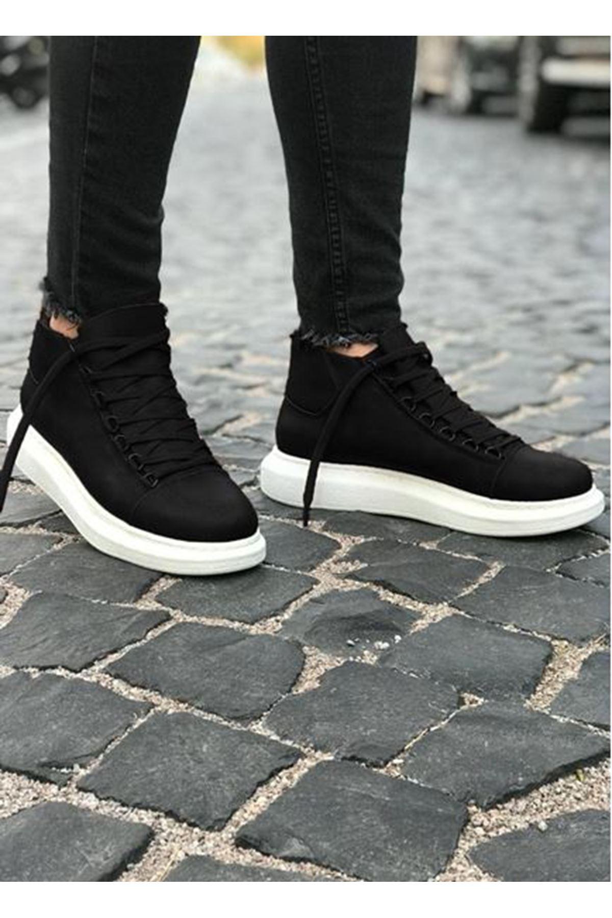 Boy Uzatan Gizli Topuk Bot Model Yüksek Taban Siyah Beyaz Erkek Ayakkabı