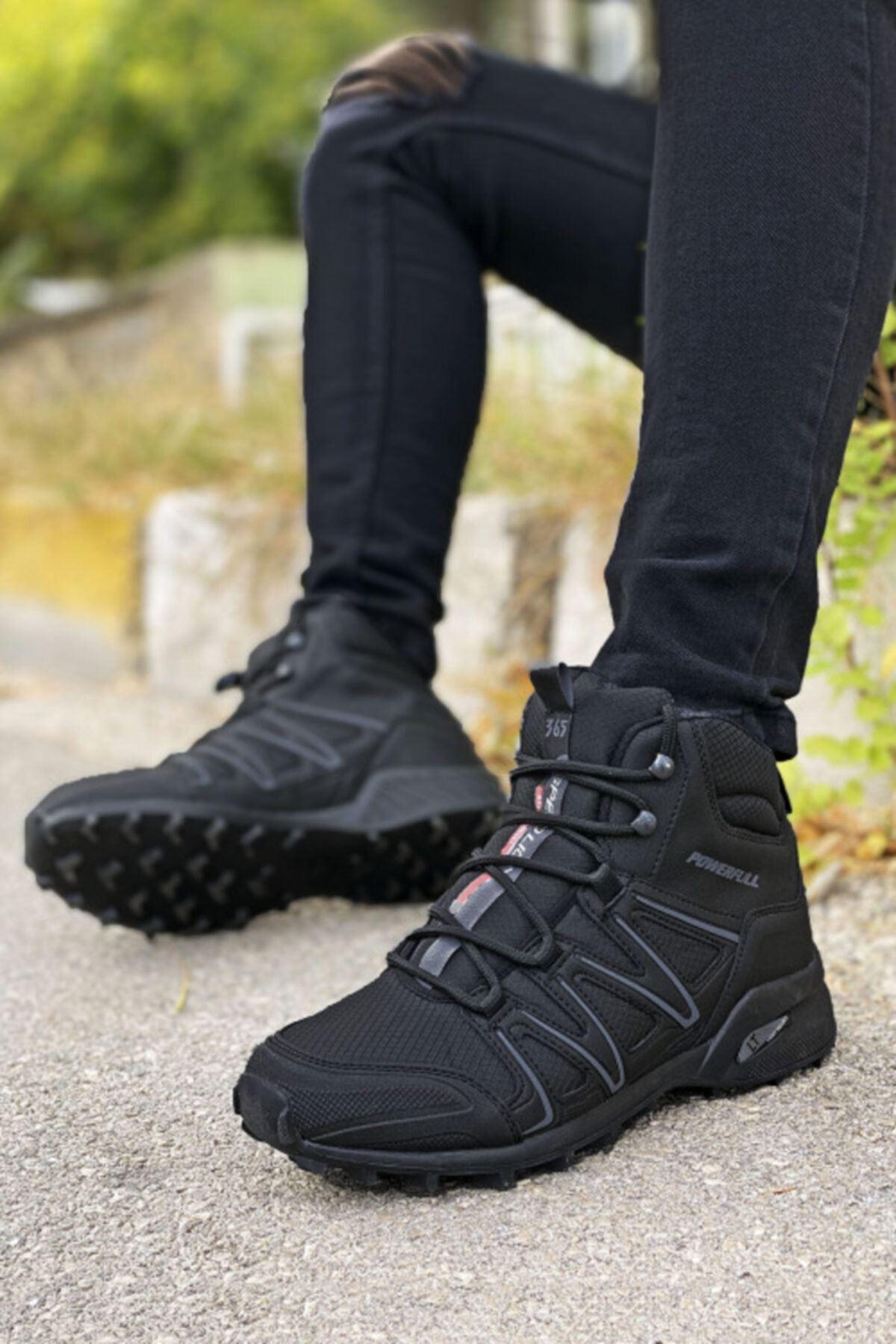 Boy Uzatan Gizli Topuk Siyah Outdoor Trekking Erkek Bot