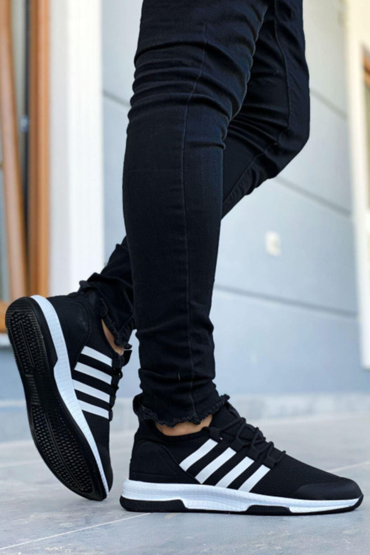 Boy Uzatan Gizli Topuk Siyah Beyaz Çizgili Ultra Hafif Triko Erkek Spor Ayakkabı