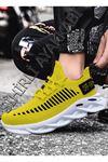 Boy Uzatan Sarı Örme Triko Tekno Erkek Spor Ayakkabı