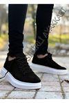 Boy Uzatan Siyah Beyaz Kancalı Yüksek Taban Erkek Spor Ayakkabı