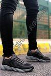Boy Uzatan Siyah Füme Grid Desen Fileli Erkek Spor Ayakkabı